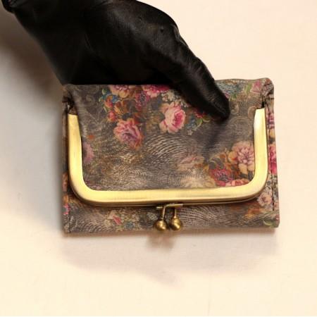 Evanna Clip Small Wallet Dark Floralprint No 21 Leather