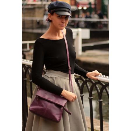Mini Amelie Foldover Purple Leather Bag
