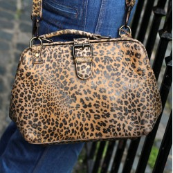 Doctor Bag Small Leopard Print Leather