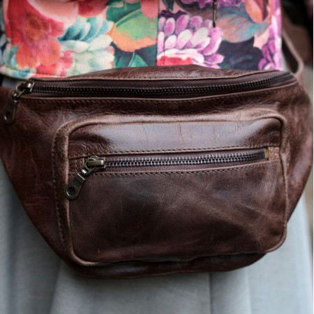 Double Bumbag Brown Leather