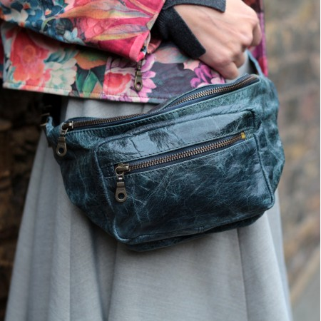 Double Navy Leather Bumbag