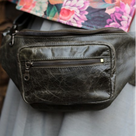 Double Olive Green Leather Bumbag
