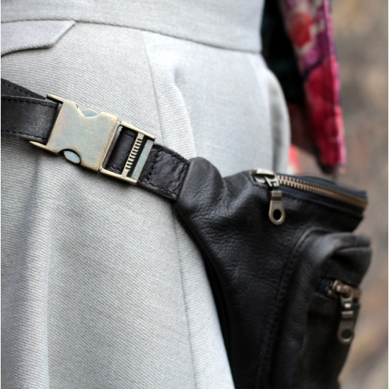 Double Bum Bag or Chest Bag Black Leather
