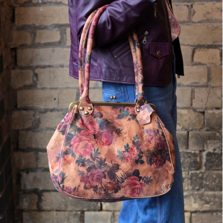 Perpetua Floral Printed Leather Clip Bag