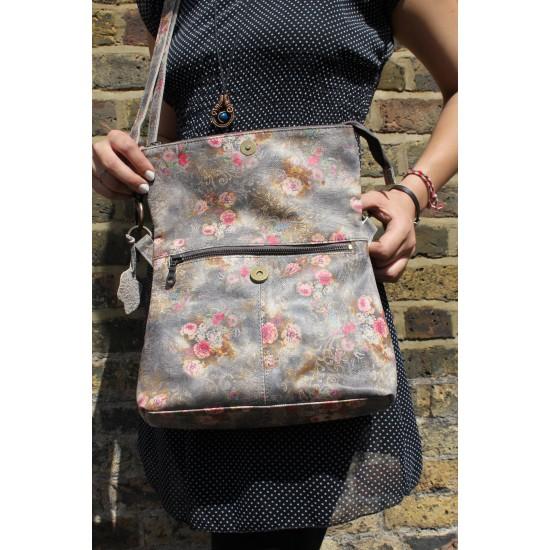 Mini Amelie Foldover Floral 21 grey Leather