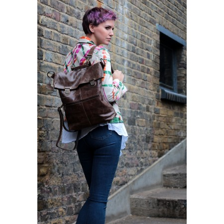 Belgian Convertible Clip Backpack Brown Leather