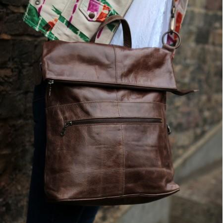 Belgian zip Convertible Zip Rucksack Brown Leather