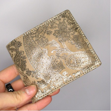 Alberta Classic Wallet Printed Leather Paisley Gold
