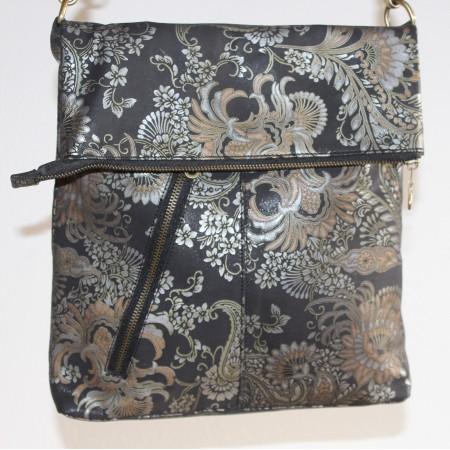 Amelie Bag Flock Silver Messenger Foldover