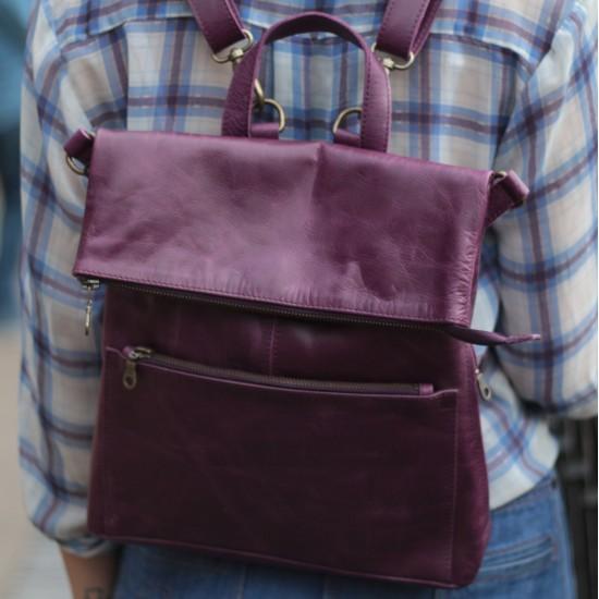 Amelie Rucksack Convertible Purple Leather