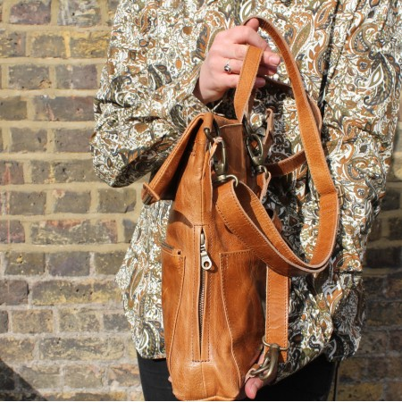 Amelie Convertible Backpack Tan Leather