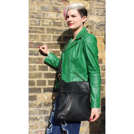 Amelie Black Leather Messenger Bag
