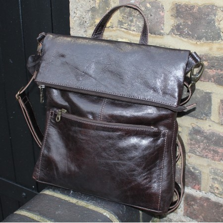 Amelie Convertible Backpack Dark Brown Leather