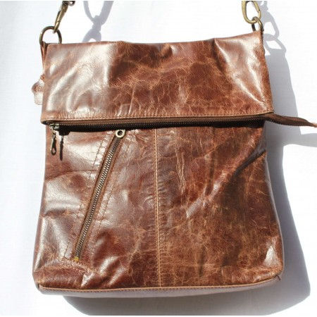 Amelie Messenger Bag with Slanted Zipped Pocket Brown Scrunchy Leather