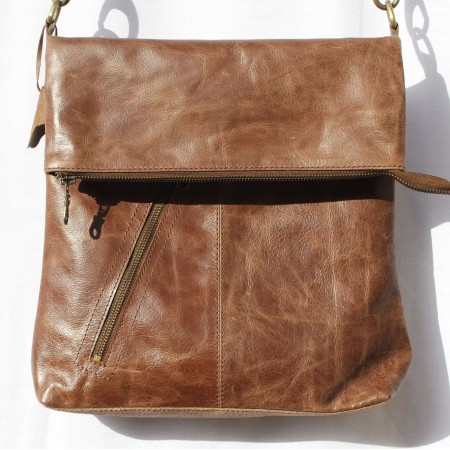 Amelie Crossbody Messenger Bag Brown Leather