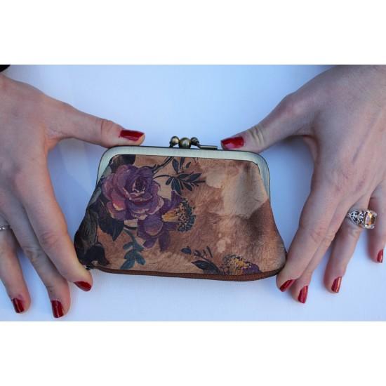 Amy Kissclip Clasp Purse Floralprint no 14 Leather