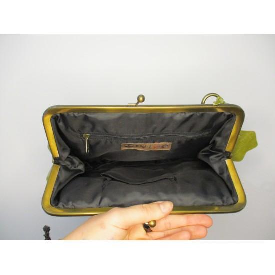 Athina Apple Green Kiss Clasp Frame Bag