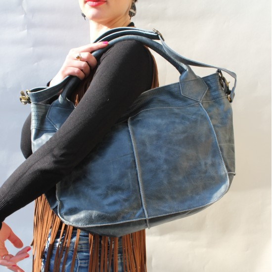Bach Medium Totebag Navy Blue Leather Holdall Convertible