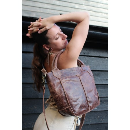 Bach Totebag Small Brown Scrunchy Leather