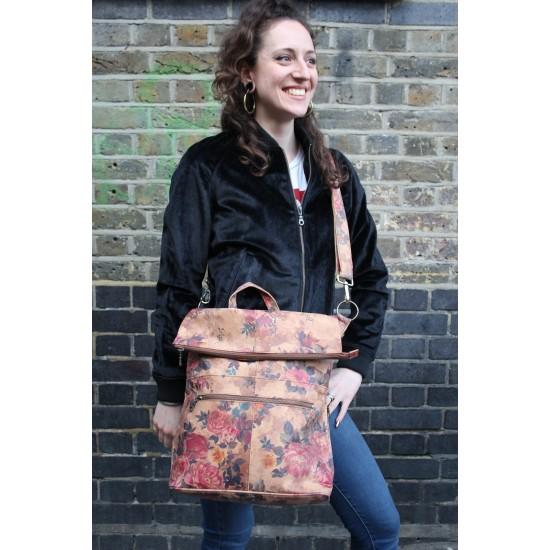 Belgian Backpack Convertible Floralprint No 14 Leather