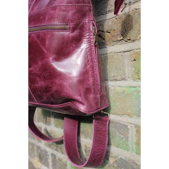 Belgian Convertible Clip Backpack Purple Leather