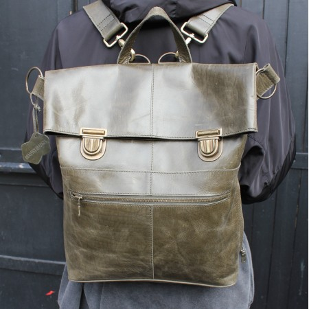 Belgian Convertible Clip Backpack Multiway Olive Green Leather