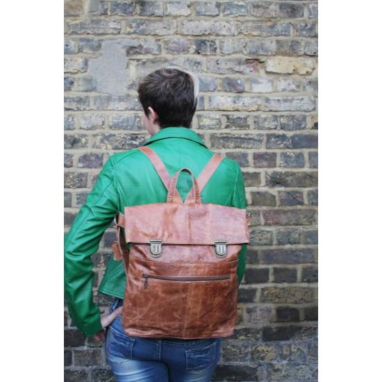 Belgian Multiway Backpack Tan Scrunchy