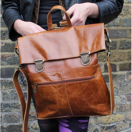 Belgian Convertible to Bag Rucksack Tan Smooth Leather Pushlock