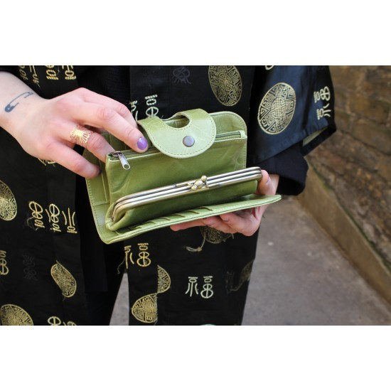 Big Fat Ex Large Wallet Apple Green Leather