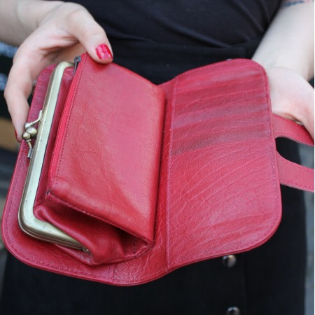 Big Fat Ex Large Wallet Red Leather