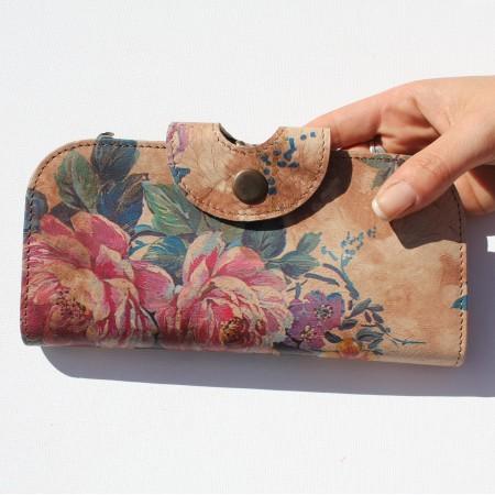 Big Fat Wallet Floral Print No 14 Leather