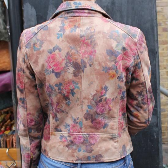 Biker Jacket Floral Print No 14 Leather