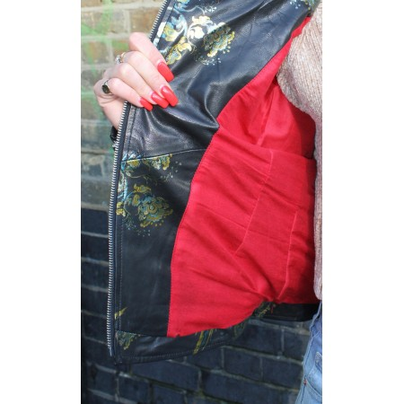 Biker Jacket Bird Pattern Leather