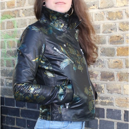 Biker Jacket Bird Pattern Printed Leather