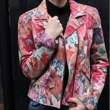 Biker Jacket French Art Floral Print Leather