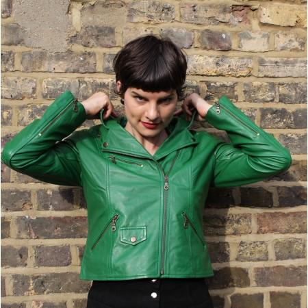 Biker Jacket Irish Green Leather