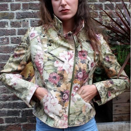 Biker Jacket Italian Floral Leather