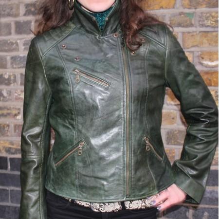 Biker Jacket Olive Green Leather