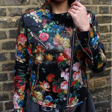 Biker Paradise Floral Leather Jacket