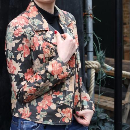 Biker Jacket Spanish Floral Print Leather