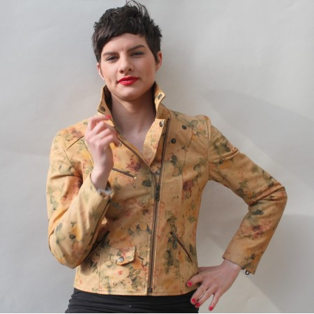 Biker Jacket Pale Floral Leather