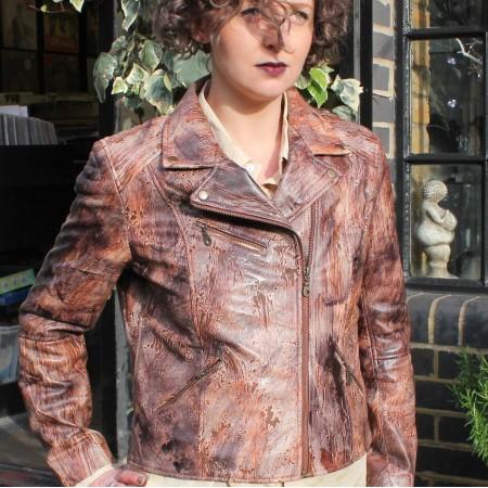 Biker Leather Nature Pattern Print Brown