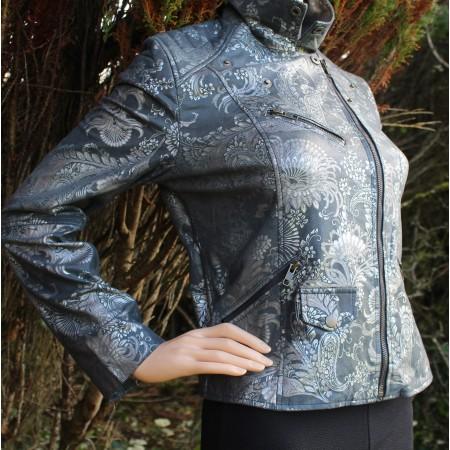 Biker Silver Flock Printed Leather