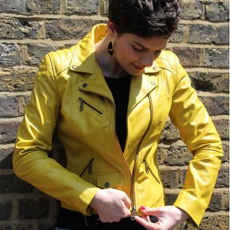 Biker Jacket Yellow Leather