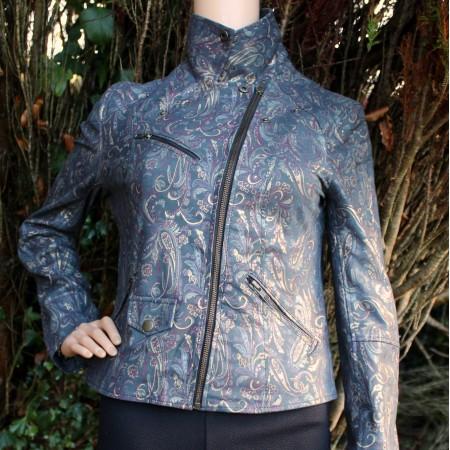 Biker Paisley Printed Leather