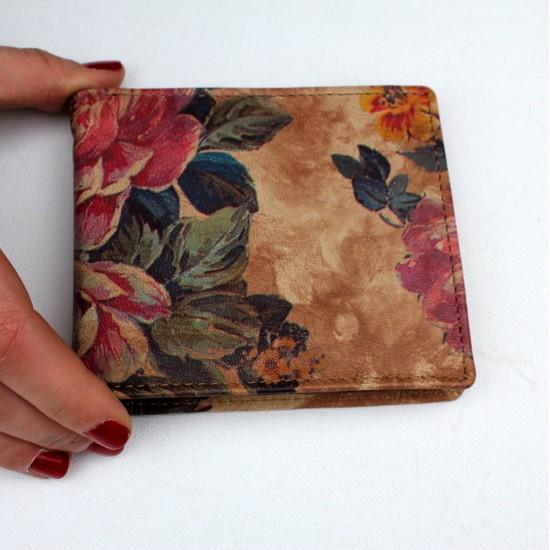 Alberta Floral Summer Garden Leather Wallet Leather