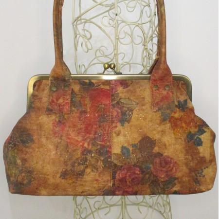 Cork Doris no 14 Floral Printed Clipframe Shoulder Handbag