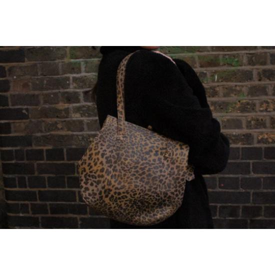 Dolly Clipframe Leopardprint Shoulder Bag Leather