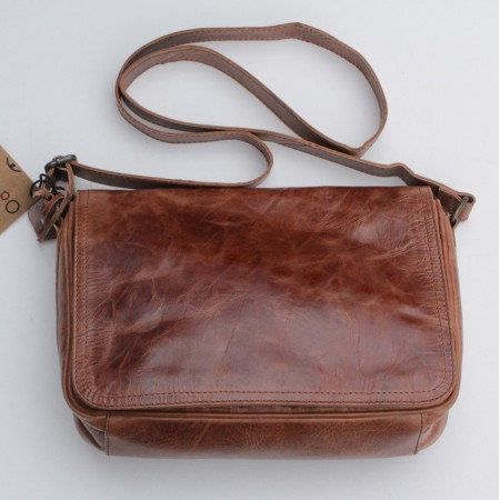 Denise Organizer Distressed Tan Leather Bag