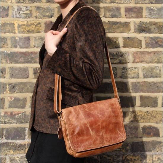 Denise Organizer Distressed Tan Leather Bag
